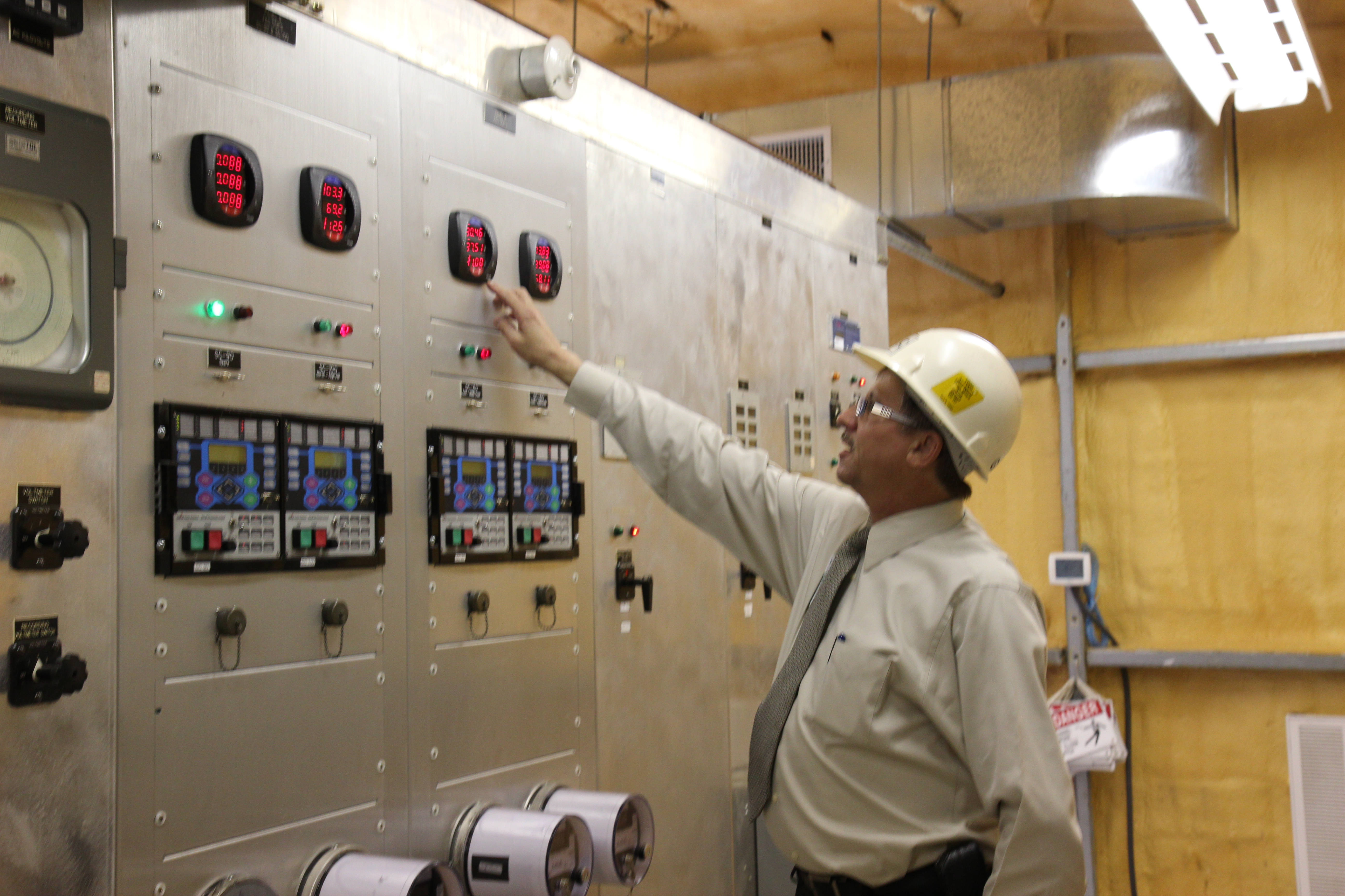 Gary reviewing SCADA system in Schulenburg Substation